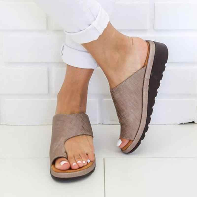 huge selection of ee47d 27fc5 Frauen Leder Schuhe Flache Sohle Damen Casual Weichen Zehe Fuß Korrektur  Sandale Orthopädische Bunion Corrector