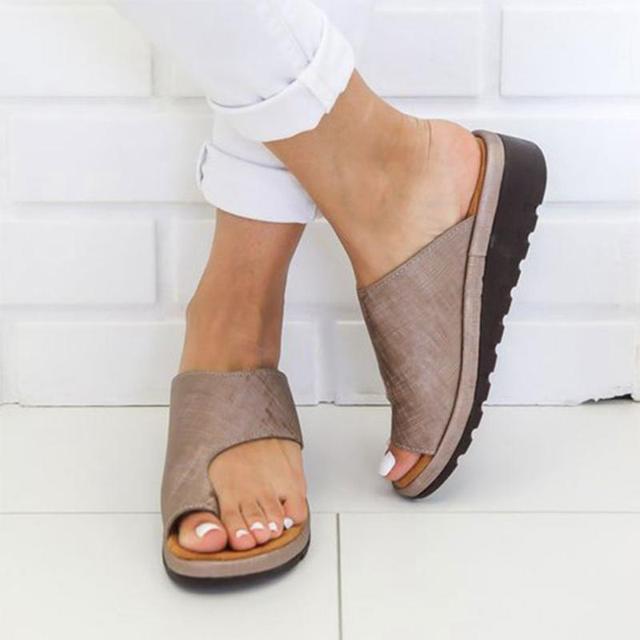 Kadın PU deri ayakkabı Rahat Platformu Düz Taban Bayanlar Rahat Yumuşak Büyük Toe Ayak Düzeltme Sandalet Ortopedik Bunion Düzeltici