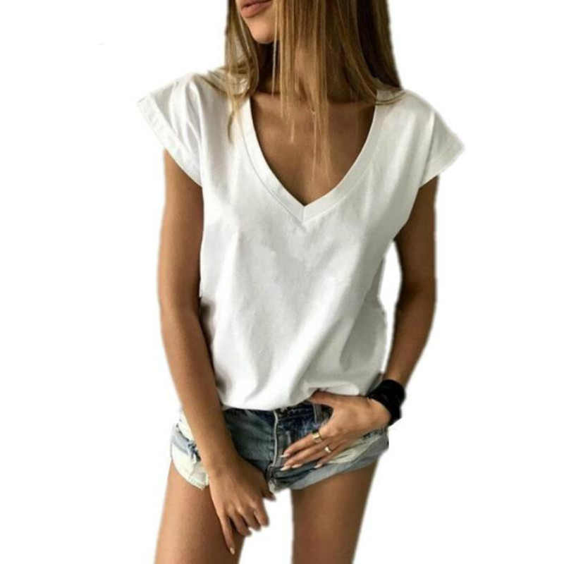 <font><b>2018</b></font> Summer T Shirt Women Short Sleeve V Neck Loose Casual <font><b>Sexy</b></font> Women T Shirt Camisetas Feminina Lady <font><b>Tops</b></font> image