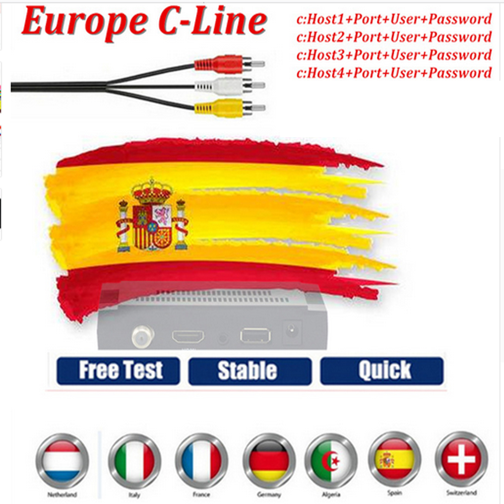 HD Cable Europe 4 lines 1 year CCCAM Clines for Digital TV Satellite Receiver DVB-S2 Set Top Box one year ccam cline spain
