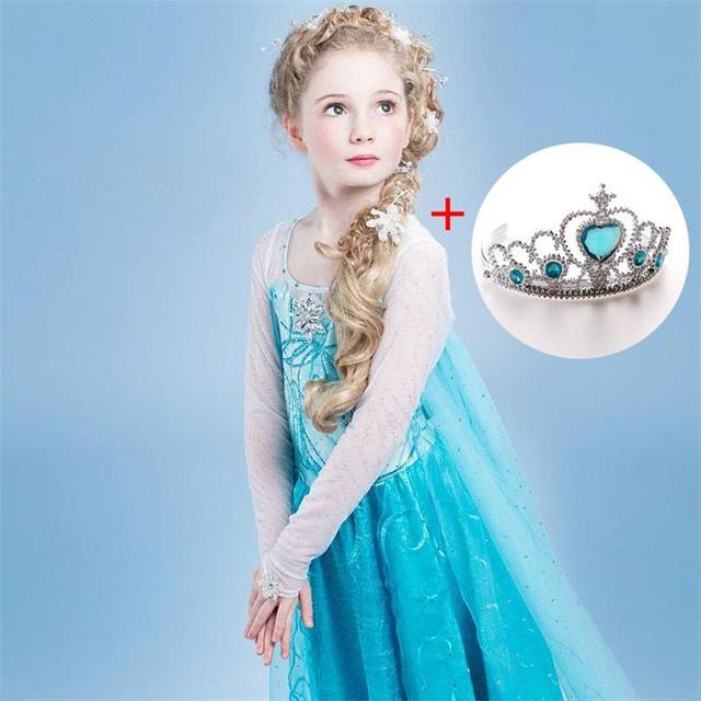 Fancy 4-10y Baby Girl Princess Elsa Dress for Girls Clothing Wear Cosplay Elza Costume Halloween Christmas Party With Crown 1