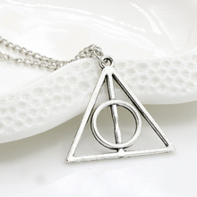 Harry Potter Deathly Hallows Necklace With Vintage Triangle Round Pendant(China (Mainland))
