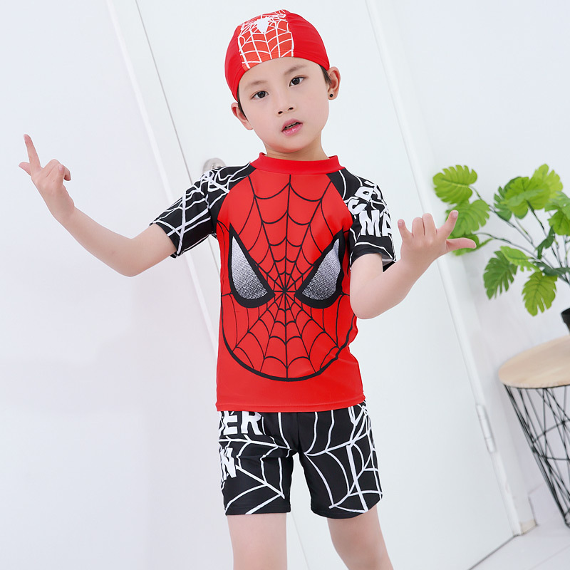Boys 2 Pieces Swimsuit + Cap Spiderman Cartoon Children Swimwear Boy Kids Bathing Suits Short Sleeve Clothes For Swimming