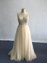 2016 echt Fotos Champagner Abendkleid Sheer V-ausschnitt Backless Abendkleider mit spitze perlen