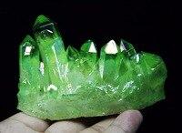 181 г светло-зеленый аура кварцевый кристалл титановый висмут силиконовый кластер радуги