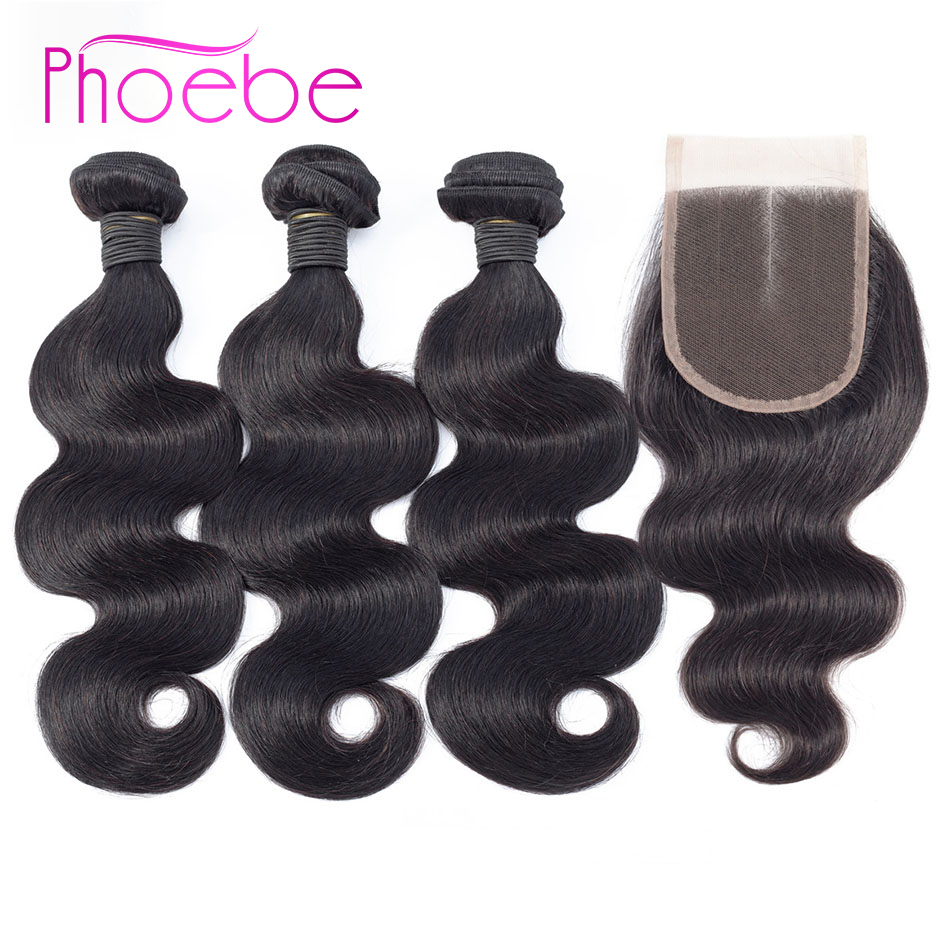 Phoebe Hair Brazilian Body Wave Hair 3 Bundles With Lace Closure Non Remy Human Hair Weaving