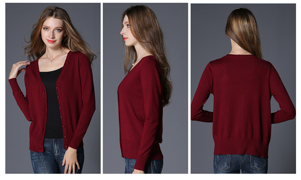 17 New Top Selling Spring Woman Sweater Tops Fashion Knitted Long Sleeve V-Neck Solid Loose Size Casual Woman Cardigan Sweater 10