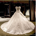 Luxury Cathedral Train  Wedding Dresses 2016 A Line Beaded Rhinestones Sweetheart Crystal Corset Bridal Gowns Custom Made