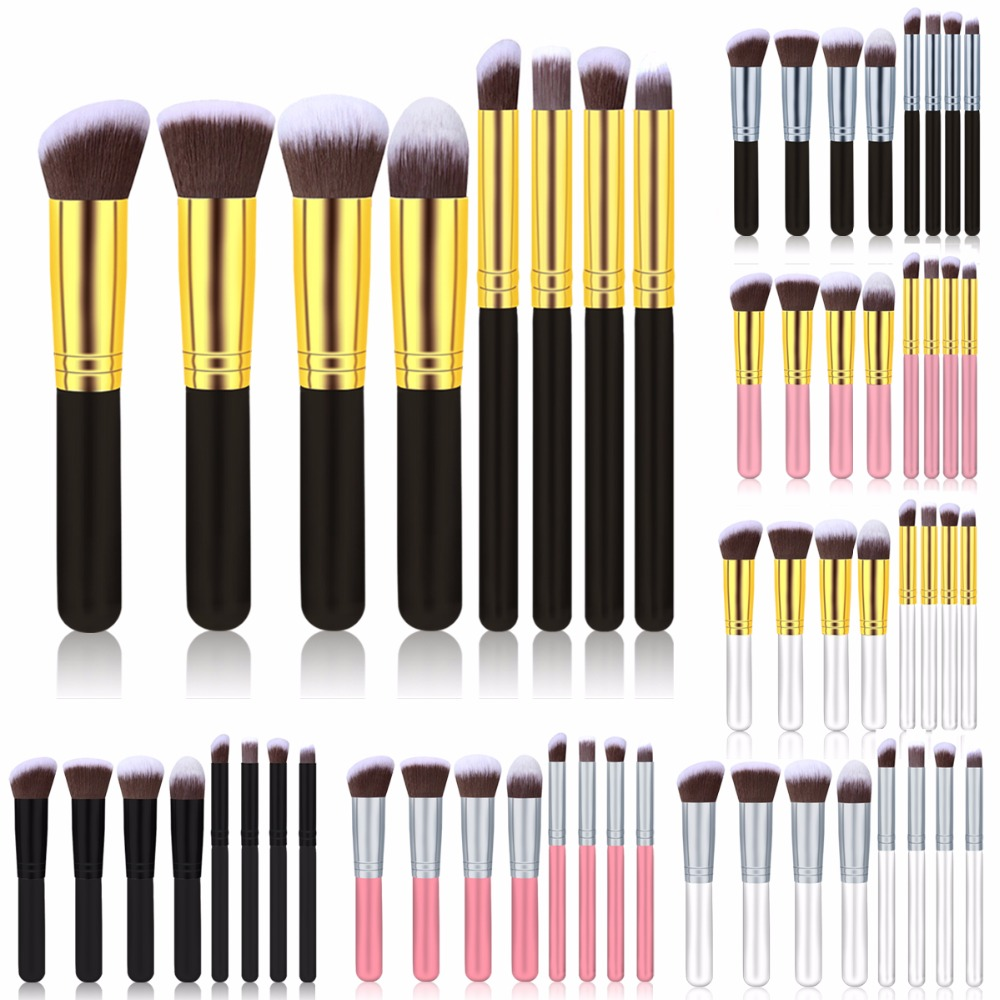Fulljion 4/8pcs/set Makeup Brushes Set Blush Brushes Wood Handle Synthetic Hair Cosmetic Powder Kabuki Makeup Tools  7 Colors fulljion 1pcs oblique head blush brush multi function foundation powder makeup brushes cosmetics tools wood handle 7 colors