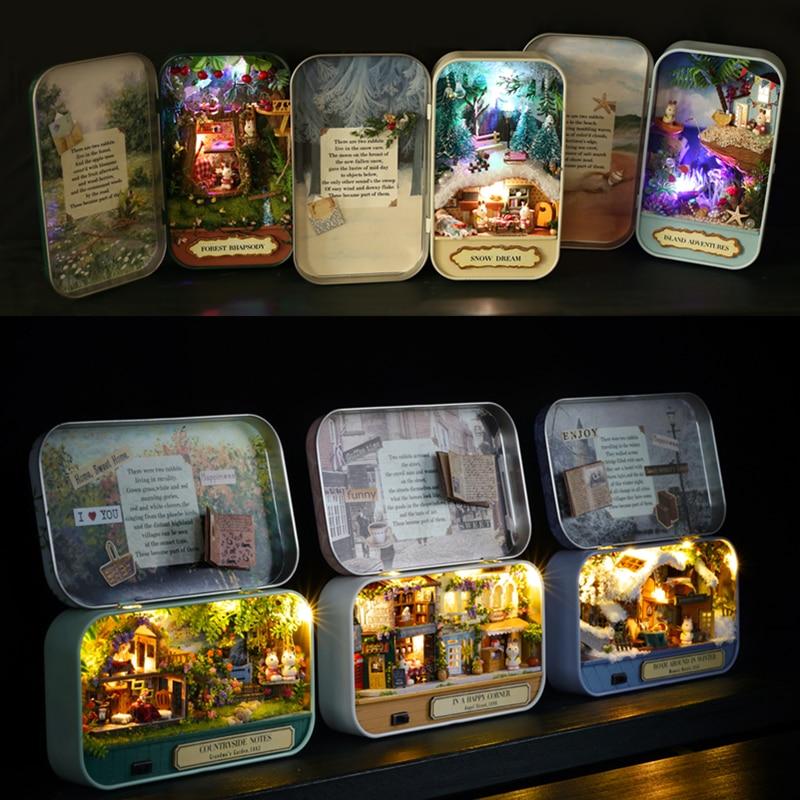 Box Theatre Nostalgischen Thema Miniatur Szene Holz Miniatur Puzzle Spielzeug DIY Puppe Haus Möbel Landschaft Notizen Q Serie # E