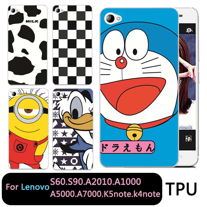 QMSWEI Soft TPU Clear Phone case For Lenovo S60 S90 A2010 a1000 a5000 A7000 k5note k4note k3note Soft Doraemon Stitch Cow Cover