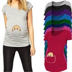 Baby espreitar para fora 2017 Nova Maternidade Camisa especializada para as mulheres grávidas plus size Europeia big size roupas de gravidez