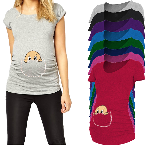 """Baby peeking out"" 2017 New Maternity Shirt specialized for pregnant women plus size European big size pregnancy clothes"