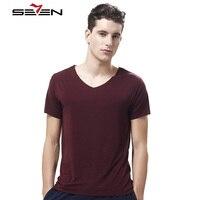 Seven7 Brand Men Undershirts V Neck Soft Comfortable Modal Casual Men Underwear Solid Slim Short Sleeve