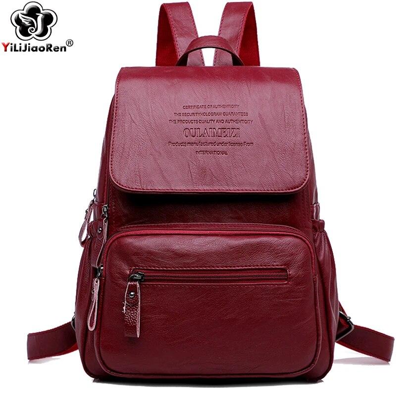 Leather backpack brown travel purse large leather shoulder bag