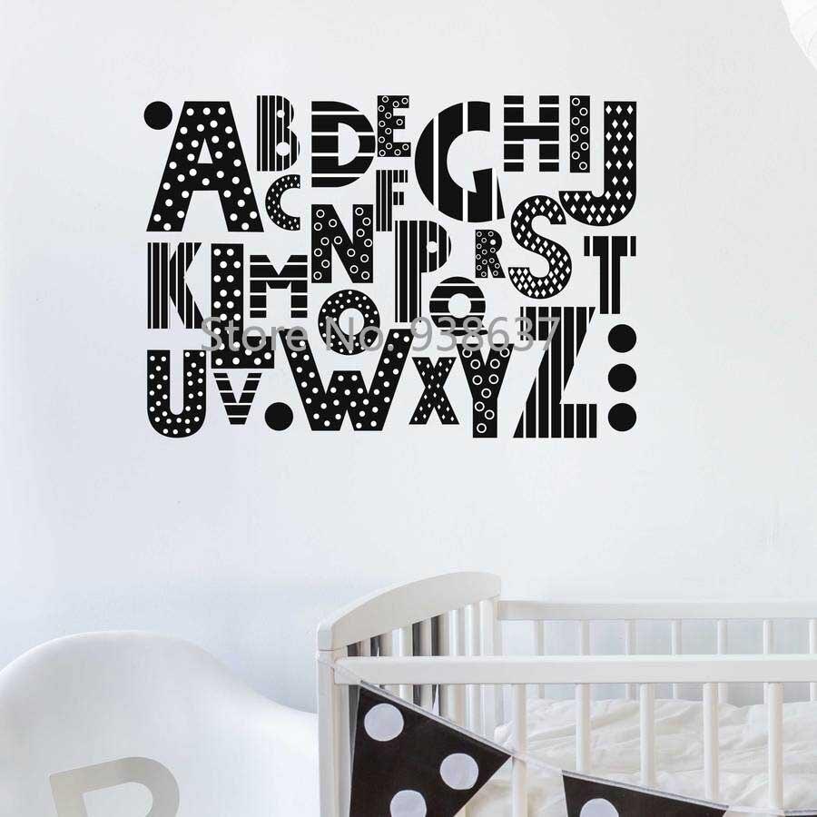Abc Muursticker voor nursery Vinyl Alfabet Muur Decasl Woonkamer ...