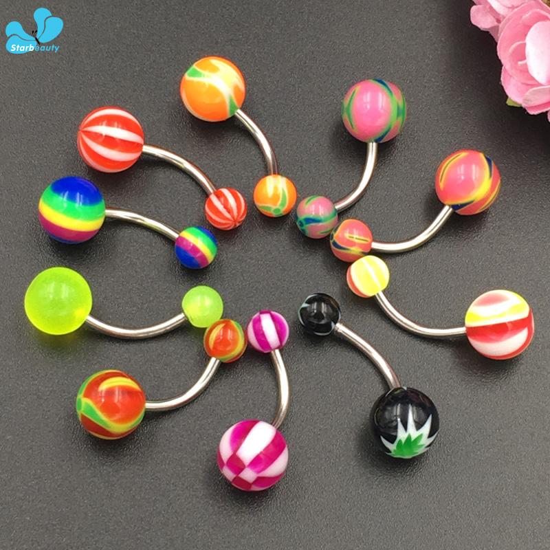 HTB1M4SaQFXXXXX7apXXq6xXFXXXJ Fabulous 3-Pieces Candy Color Acrylic And Surgical Steel Navel Ring Set