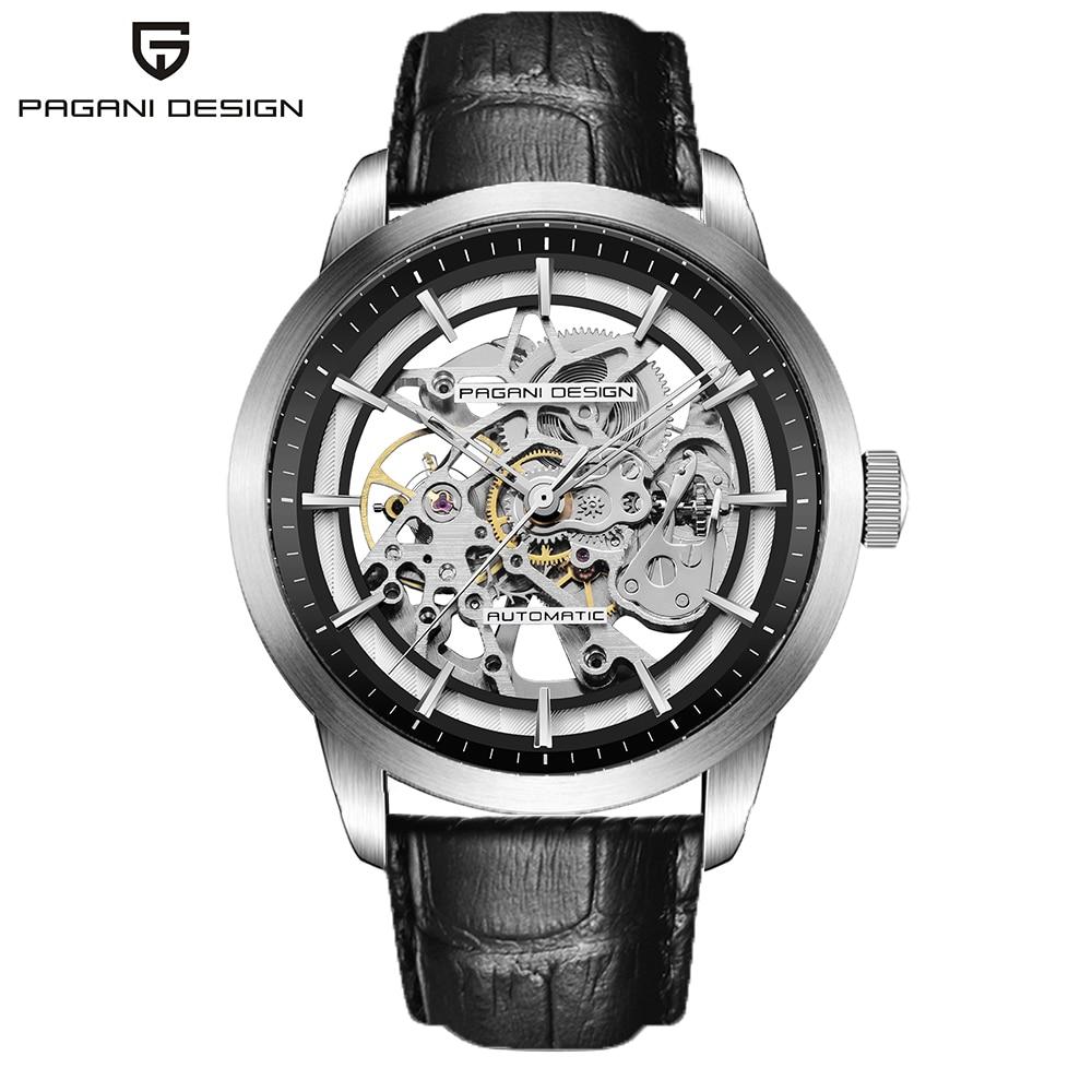 PAGANI DESIGN Brand Hot Sale 2019 Skeleton Hollow Leather Men's Wrist Watches Luxury Mechanical Male Clock New Relogio Masculino