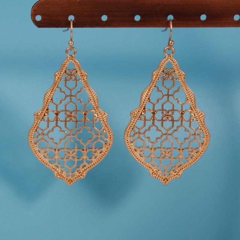 8bc5abd296f US $1.79 35% OFF|2019 New styles Gold Filigree Morocco Dangle Earrings for  Women Fashion Jewelry Zinc Alloy Two Tone Cutoff Filigree Earrings-in Drop  ...