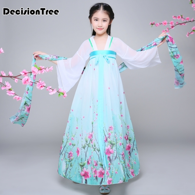 2019 new chinese traditional hanfu dresses girls child kids ancient chinese hanfu Chiffon dresses costume femal tang clothing