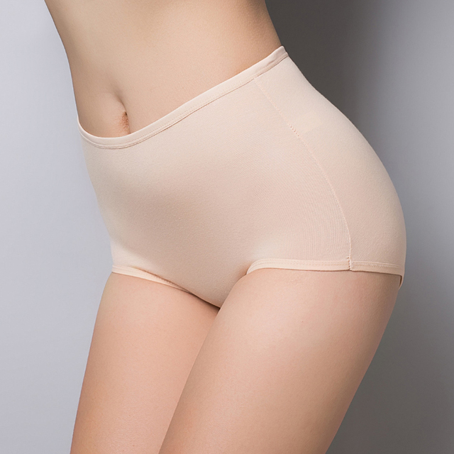 Women's briefs Comfortable and cool bamboo fiber panties pure color classic high waist underwear girl lingerie underpants