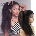 Joywigs Italian Yaki African American Full Lace Human Hair Wigs Best Glueless Brazilian Virgin Kinky Straight Lace Front Wigs