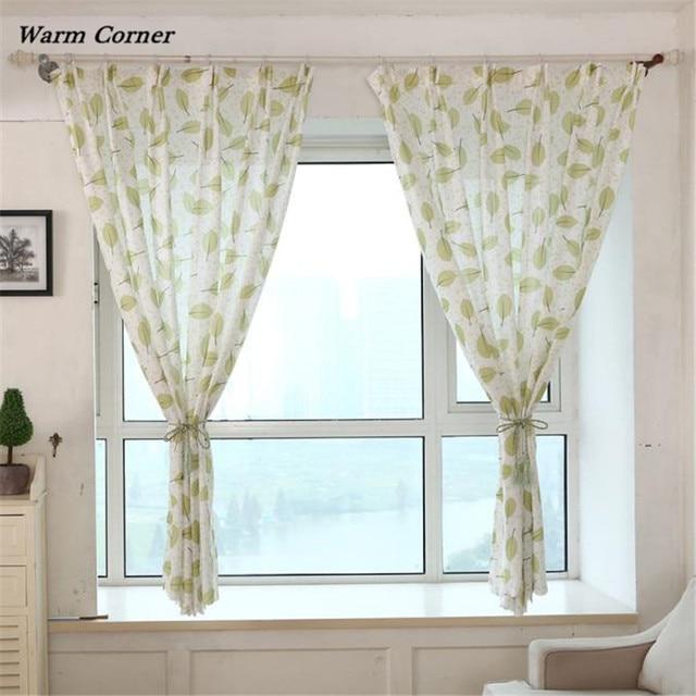 Warm Corner LM Fresh leaves Print Sheer Window Curtains For Living ...