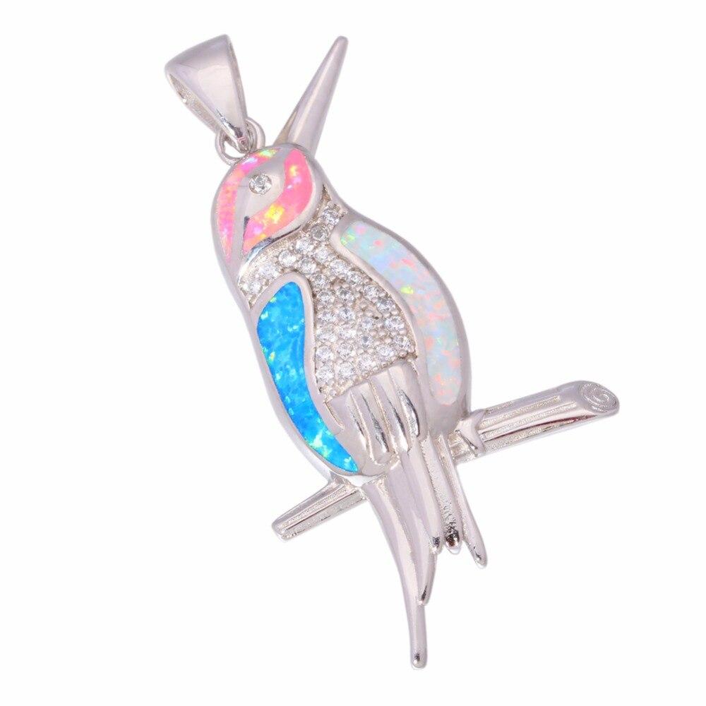 CiNily Dibuat Fire Opal Pendant Putih Pink Biru Colorful Charm Perak - Perhiasan fashion - Foto 3