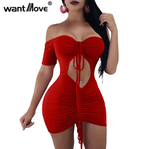 Wantmove 2018 summer new womens dress sexy soild slim stretch off shoulder ruched lace up cut out slim party mini dress JZ408(China)
