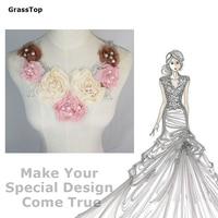 2016 New Fashion Elegant Vintage Lace Collar Chiffon Fabric Flower Pearl Beaded Dress DIY African Lace