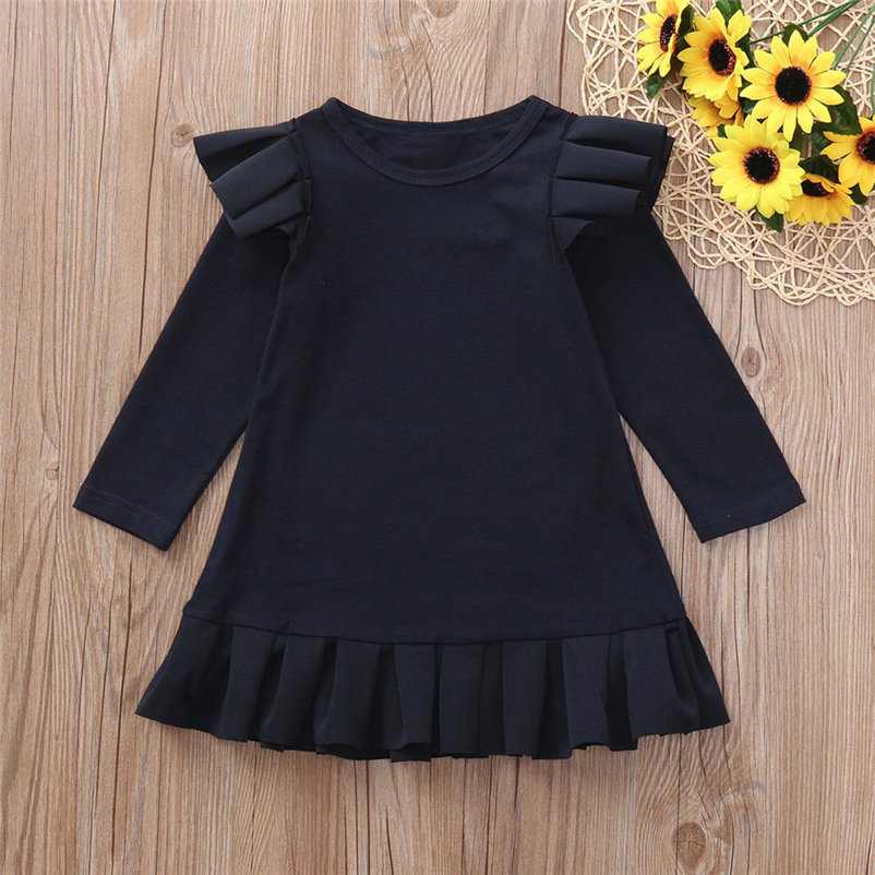 new !!solid sweet baby girls dress fashionable long sleeve cool girl dress for toddler girls conjunto menina 4OT1 (6)