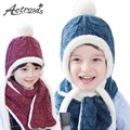 [AETRENDS] Winter Fur Pompom Hat Scarves Set for 2~6 Years Old Children Warm Knitted Beanies Z-5049