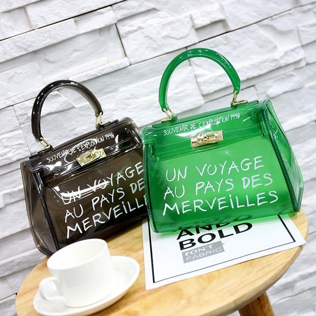 Satchel Handbag Women Bag Clear Jelly Transparent PVC Bag Candy Color Tote  Bag Designer Purse Bolsa f68ad24df083f