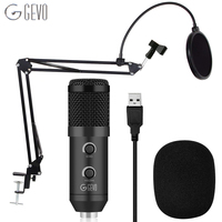 GEVO BM 900 Condenser USB Microphone Studio With Stand Tripod And Pop Filter Mic For Computer Karaoke PC Upgraded From BM 800