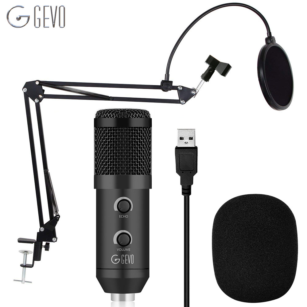 GEVO BM 900 USB Microphone Condenser Studio With Stand Tripod And Pop Filter Mic For Computer