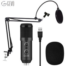 цена на GEVO BM 900 USB Microphone Condenser Studio With Stand Tripod And Pop Filter Mic For Computer Karaoke Pc Upgraded From BM 800