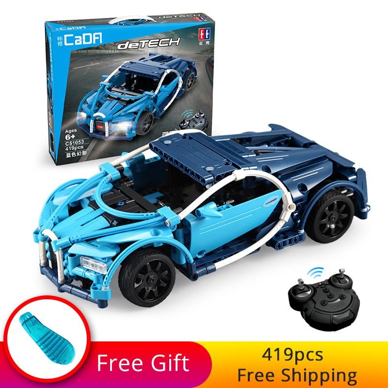 419pcs Technic Series DIY Building Blocks Bricks Remote Control RC Car Set Super Blue Sports Racing