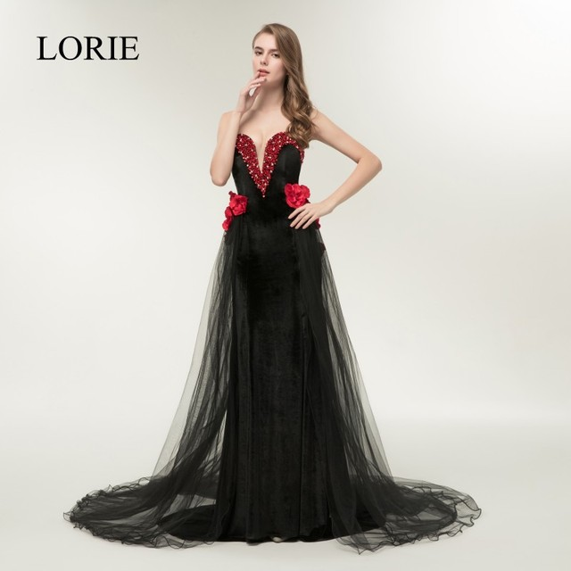 2f09857efa52 Sexy Mermaid Prom Dresses 2018 Off Shoulder Black Long Evening Dress 2  Pieces Girls Graduation Party Dress with Red 3D Flowers