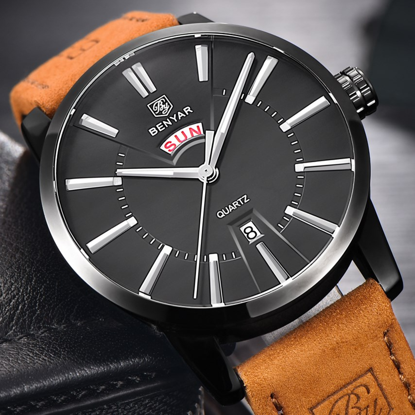 BENYAR Mens Watches Top Brand Luxury Popular Famous Male Clock Quartz Watch Business Leather Strap Waterproof Relogio Masculino mens watches top famous brand wwoor luxury male quartz watch leather strap waterproof men wristwatch clock reloj hombre
