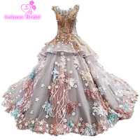 Real Photo Luxury Ball Gown Wedding Dresses Gowns O Neck Cap Sleeve Beaded Lace Flower