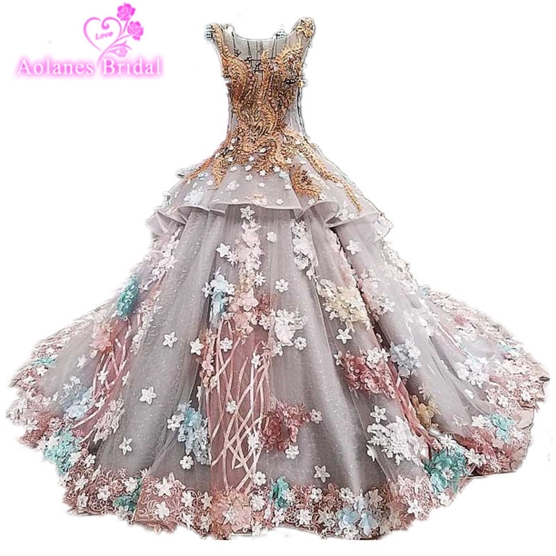 Wedding Gowns In Color: 3D Flowers Champange Lace Gray Colors Wedding Ball Gowns