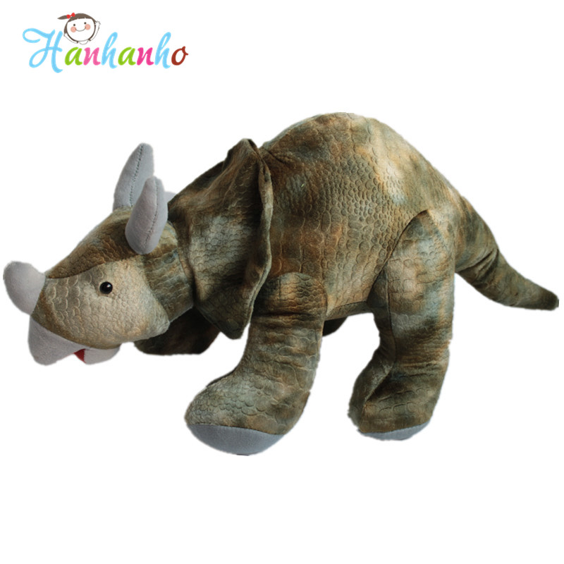Simulation Triceratops Dinosaur Plush Toy Giant Stuffed Animal Doll Soft Toys Boy Kids Birthday Gift 55cm stuffed animal 145cm plush tiger toy about 57 inch simulation tiger doll great gift w014