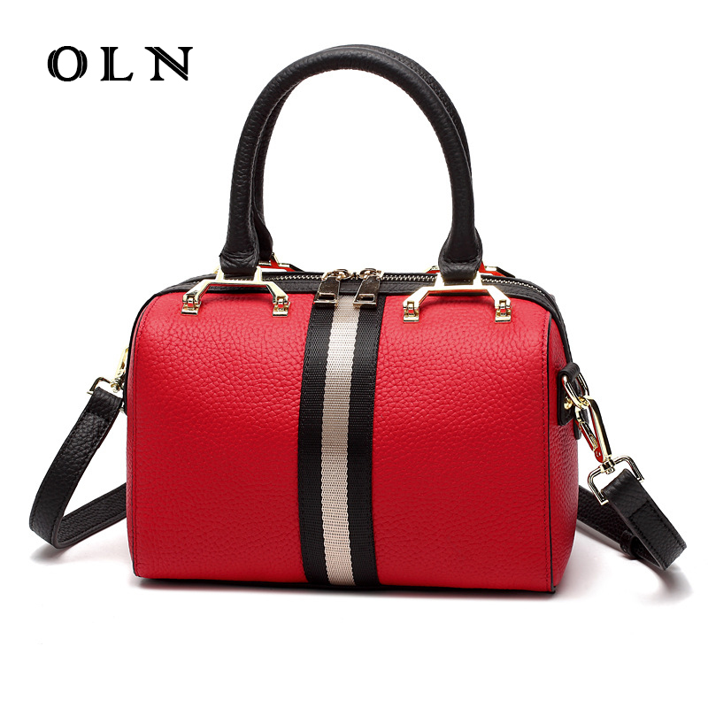 OLN 2018 Luxury Fashion New Soft Genuine Leather Women Designer Handbag Tote Shoulder Crossbody Messenger Bag Satchel Bolsa fashion women canvas stripe shoulder bag satchel crossbody tote handbag purse messenger gift wholesale bolsa feminine