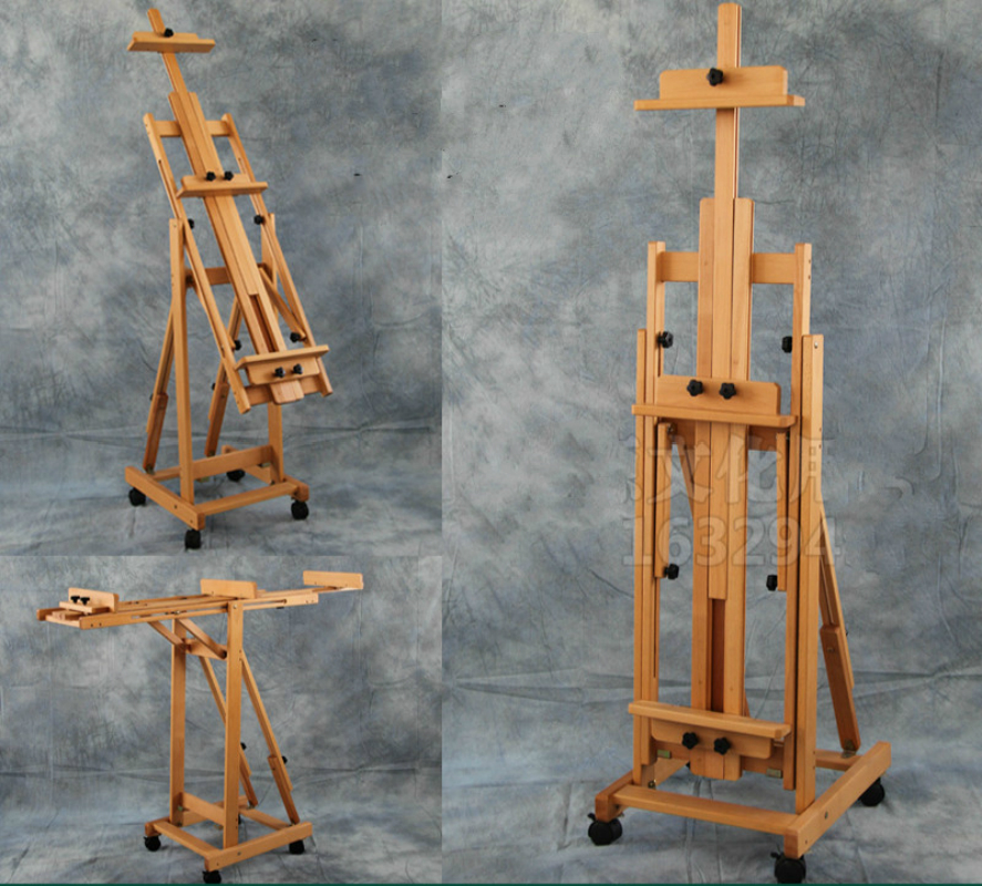Multi purpose beech solid wood color painting easel folding sketch easel advertising show stand shelf drawing
