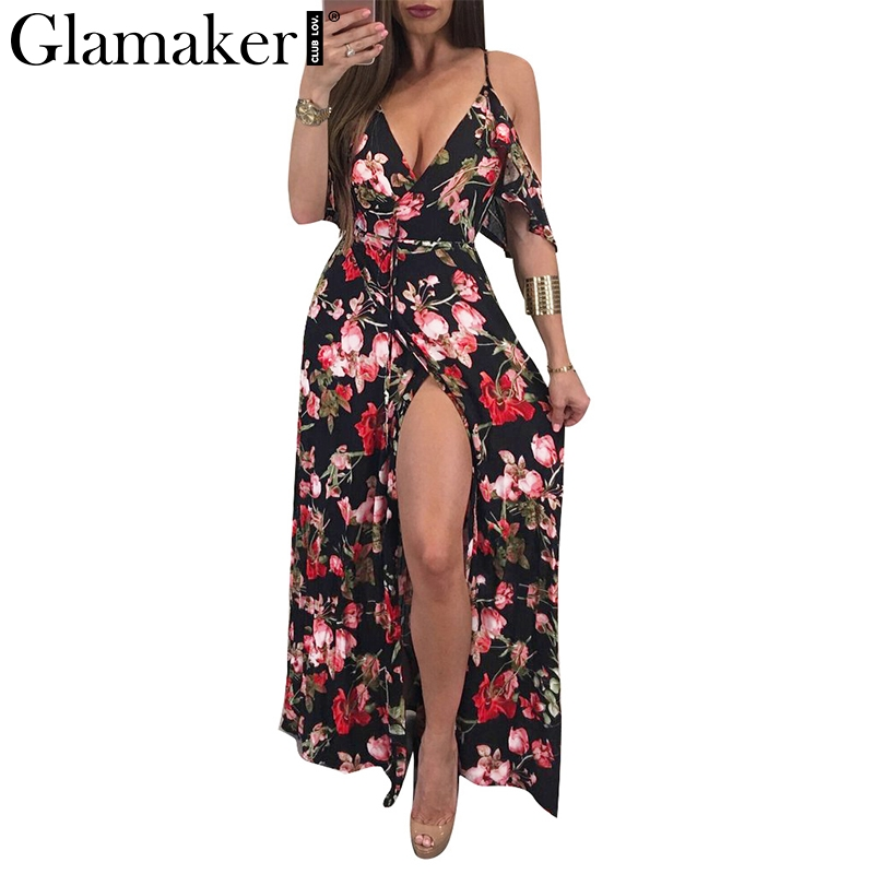 Glamaker floral Dress Glamaker Floral print summer dress Women ruffle off shoulder maxi dress  sundress V neck split bohemia sexy beach dress vestidos-in Dresses from  Women's ...