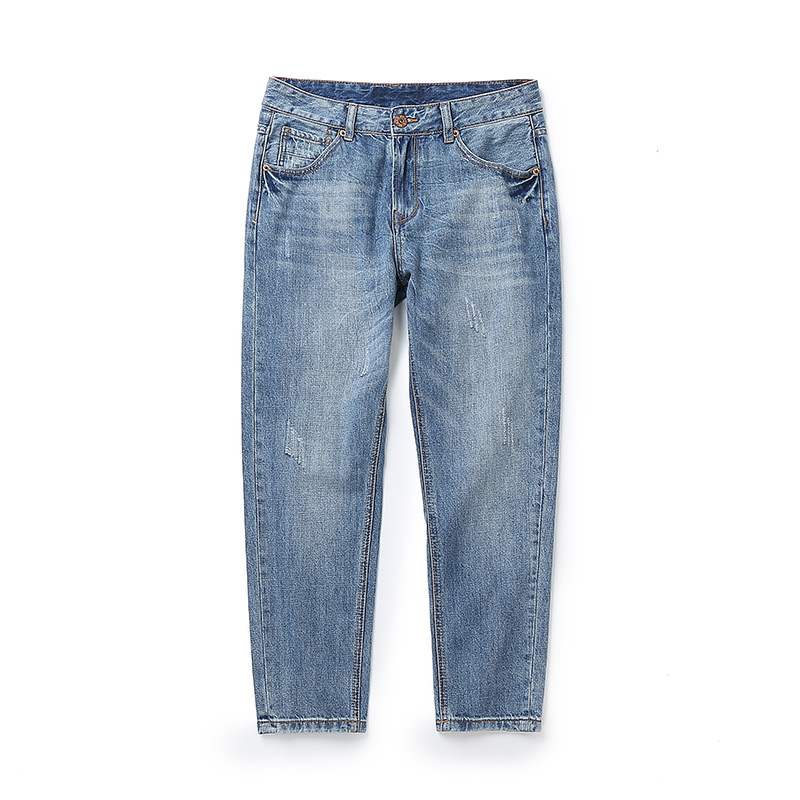 2018 New Men Jeans Street Casual Thin Summer Cropped pants Slim Fit Blue Jeans Male Stretch Denim Pants