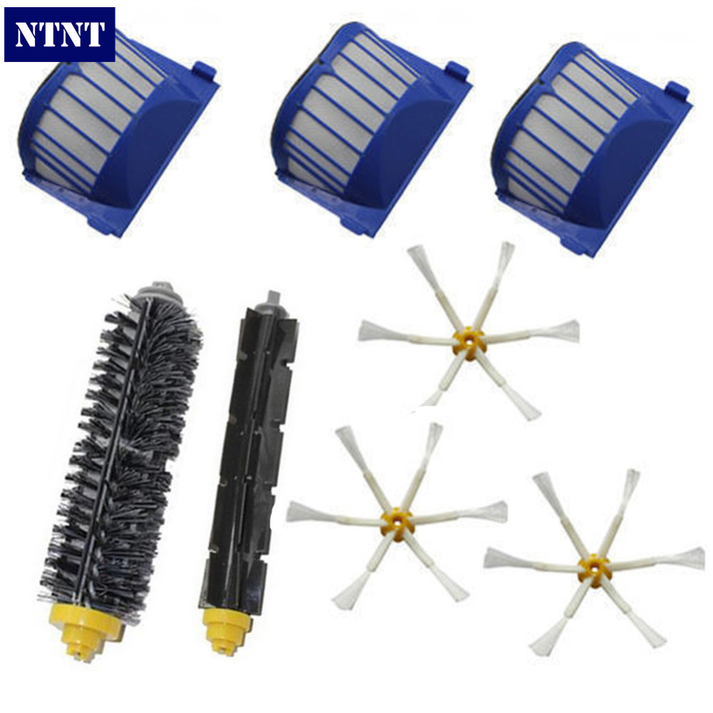 NTNT New AeroVac Filter + 3 Pcs 6 armed Side Brush for iRobot Roomba 600 Series 620 630 650 660 straight leg plaid printing zipper fly shorts for men