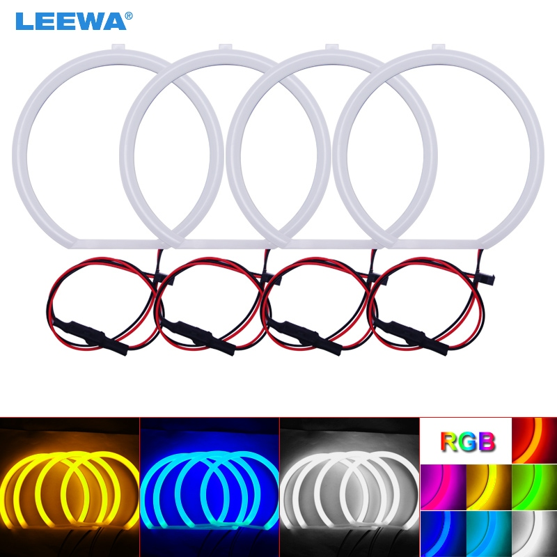 LEEWA 4X127.5mm Car Auto Halo Rings Cotton Lights SMD LED Angel Eyes for BMW E39 OEM (01-03) DRL White/Blue/Yellow/RGB #CA3700 3014 smd led ring halo lights 72mm 80mm 90mm 105mm 120mm 125mm 140mm xenon white blue green red angel eyes auto led headlight