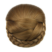 Soowee 6 Colors Synthetic Hair Braided Chignon Clip In Hair Bun Chignon Hairpiece Donut Roller Hairpieces for Women(China)