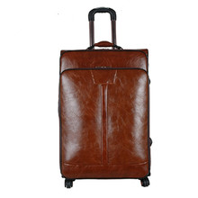 KUNDUI Business Trolley PU Retro suitcase bag luggage bags boarding box spinner wheels men convenient computer